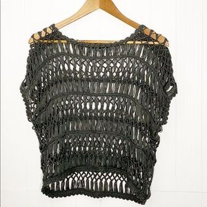 Forever 21 | Cropped Crochet Top Charcoal Gray M